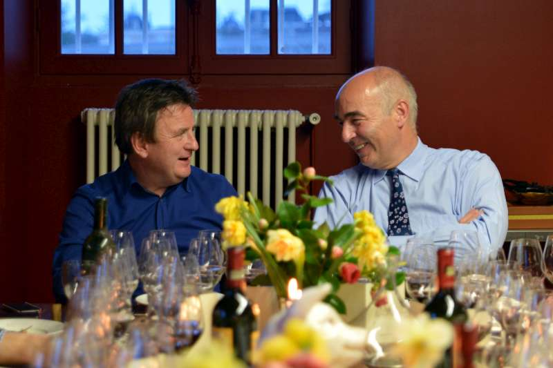 Stephen and Bruno Borie during dinner at Ducru Beaucaillou