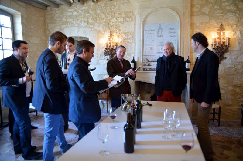 Hubert de Bouard talks to the team at Château Bellevue