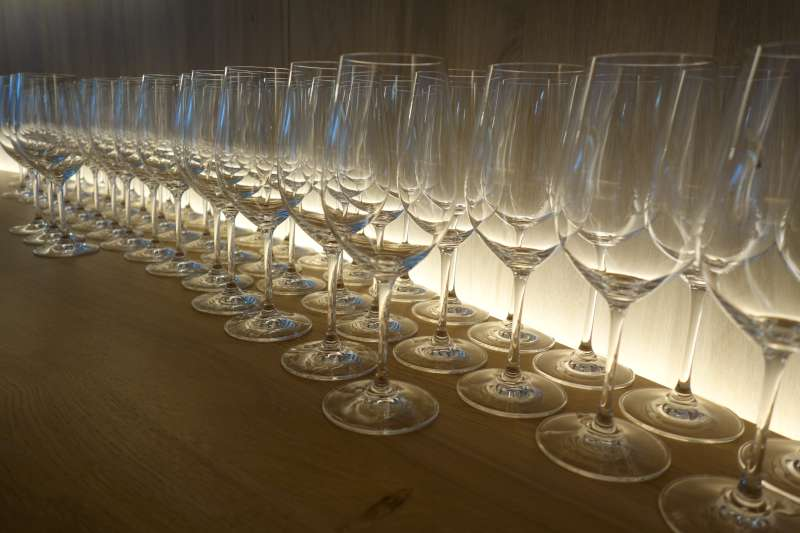 Glasses laid out at Chateau Cheval Blanc