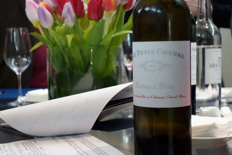 An interesting look at Petit Cheval Blanc (100% Sauvignon Blanc). Amazing length and texture