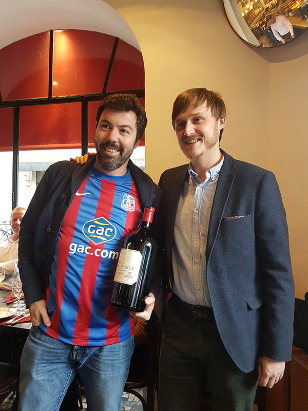 Thomas Parker (r) with Jean-Charles Cazes, a man with great taste in wine & football